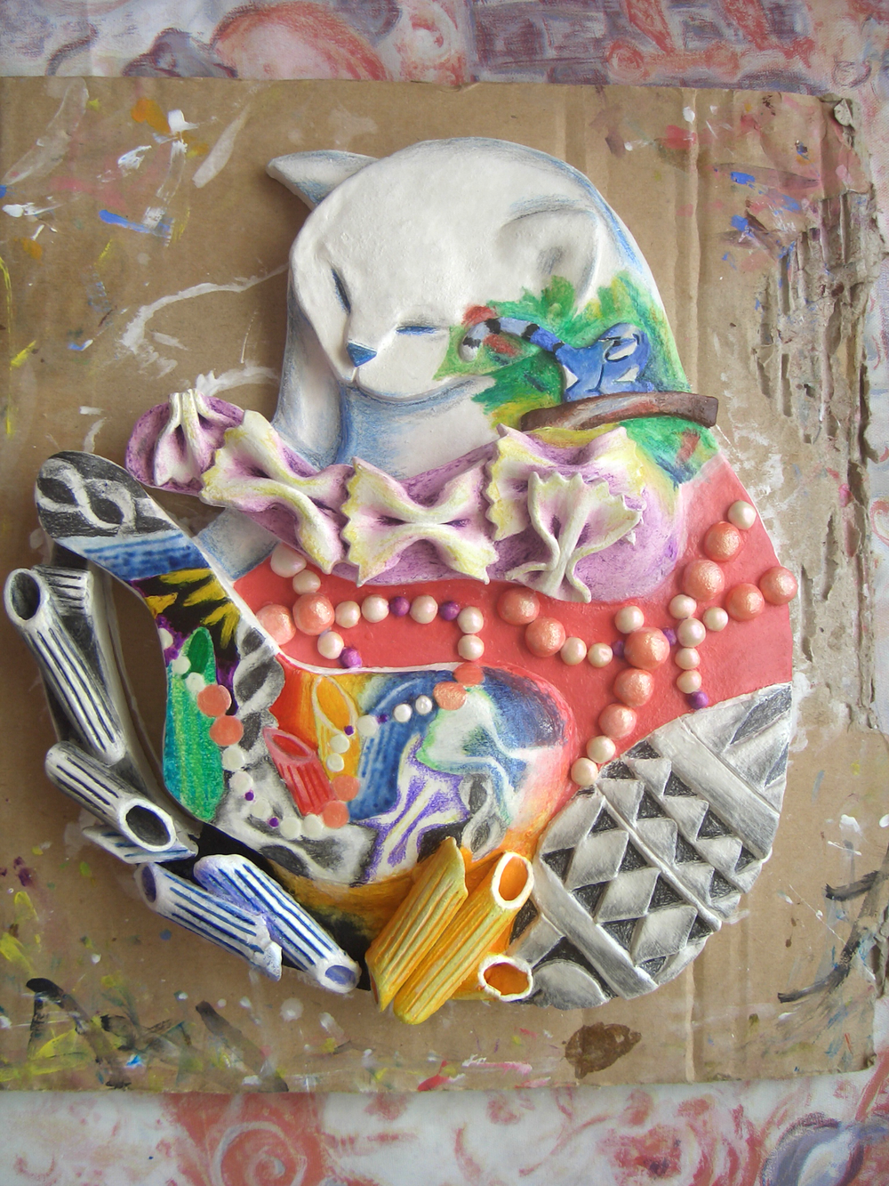 GSCE Art, clay after kiln and hand-painted