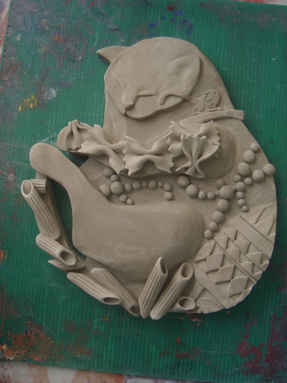 GCSE Art, clay hand-sculpted before drying in the kiln