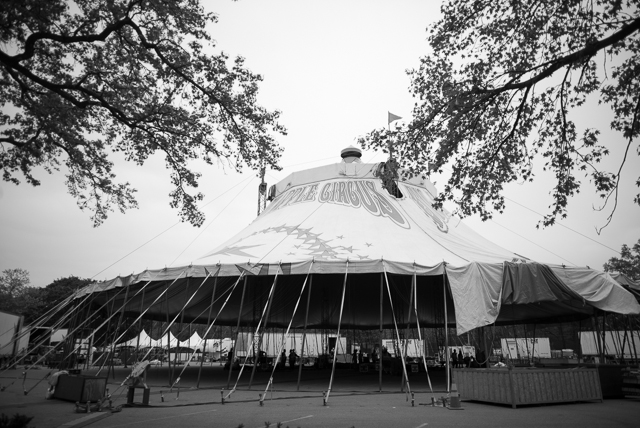 The Big Apple Circus tent is raised at Cunningham Park in Queens on Wednesday. May 14th, 2014.