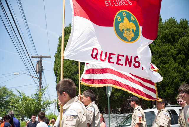 Boy Scouts march in the Whitestone Memorial Day Parade.