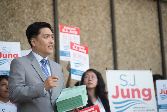 S.J. Jung announced his campaign volunteers amassed a total of 3,379 signatures to be placed on the ballot in the upcoming NY State Senate primary where he'll run against incumbant Toby Ann Stavisky for the Democratic position. Jung, a long time political activist lost a previous primary in 2009 for the 20th District City Council seat.