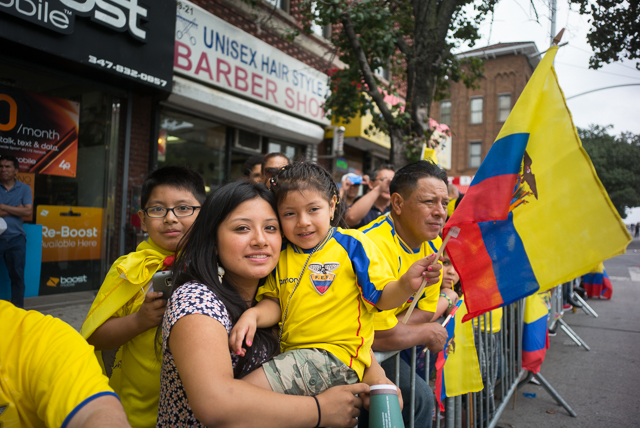 Jessica Lucero and Lizeth Lucero, 4, at the Ecuadorian parade Sunday. Photo by Ken Maldonado