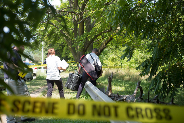 Police investigate the remains of a woman found along Utopia Parkway near 14th Road.