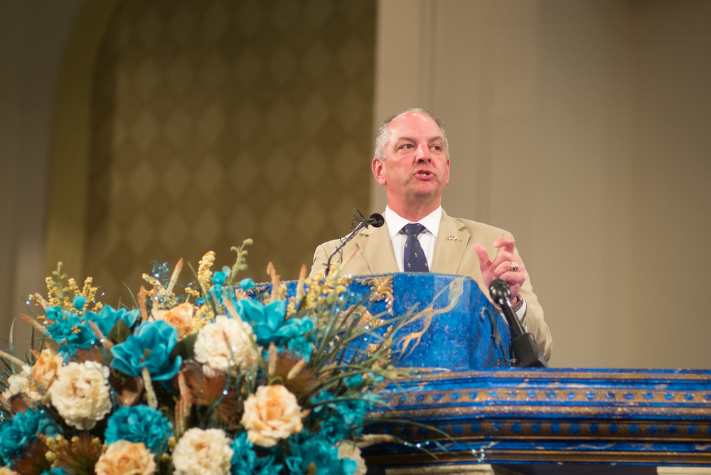 Louisiana Governor John Bel Edwards speaks at the Living Faith Christian Center in Baton Rouge. Governor Edwards revealed that he has personally requested the Justice Department investigate the shooting death of Alton Sterling by a police officer.