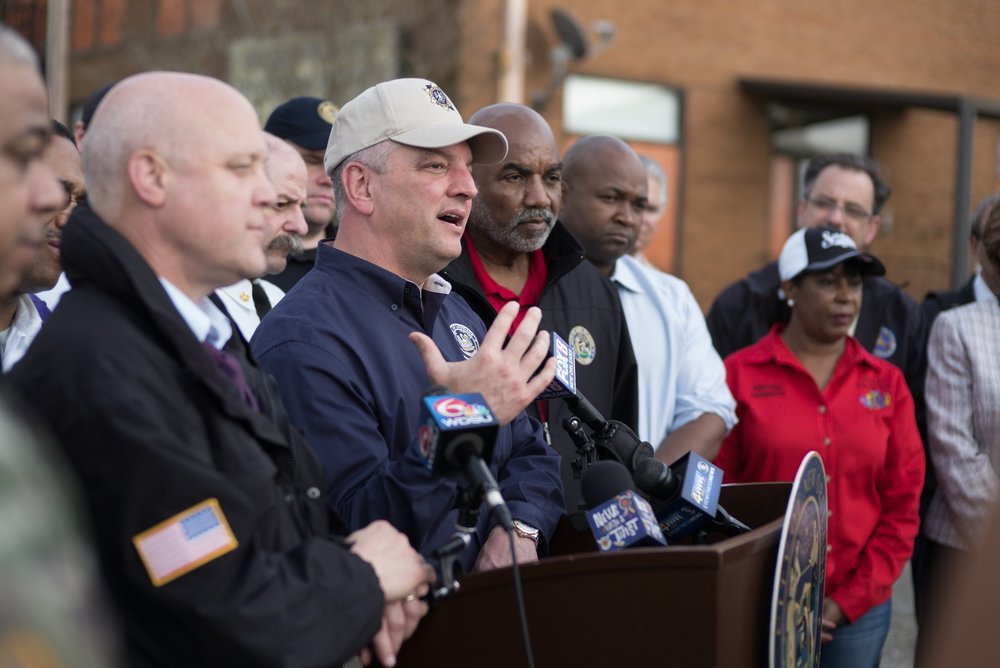 Louisiana Governor John Bel Edwards addresses the media in the aftermath of a tornado that struck New Orleans East destroying homes and businesses.