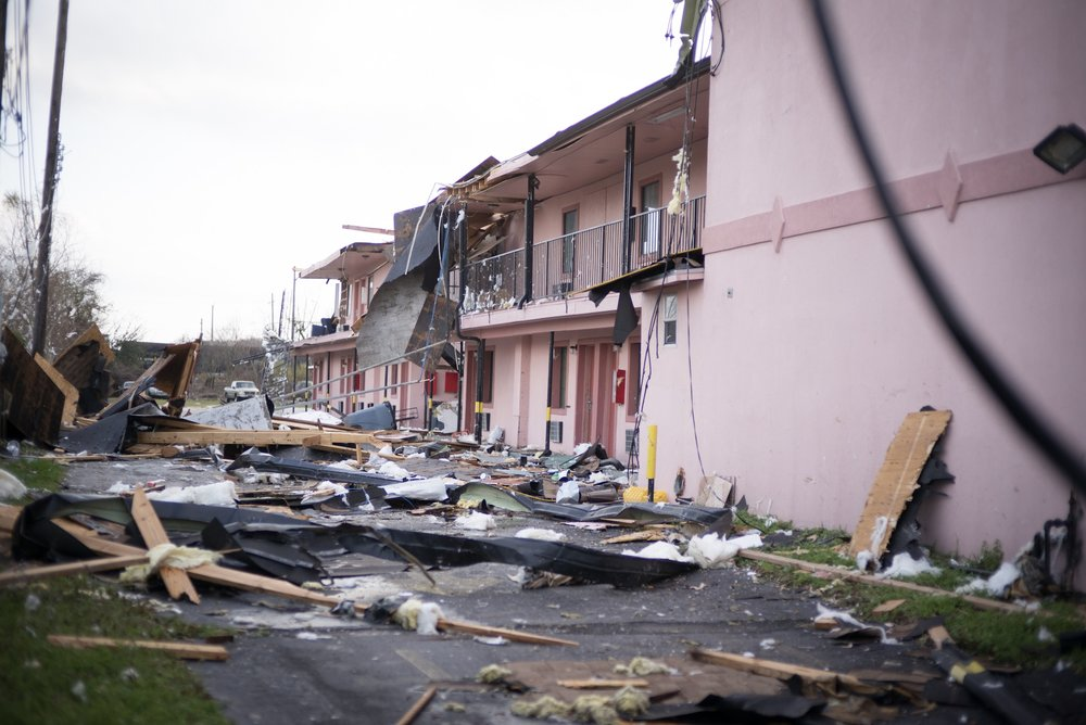 The rear of a hotel in New Orleans East was torn apart after a tornado struck the area.