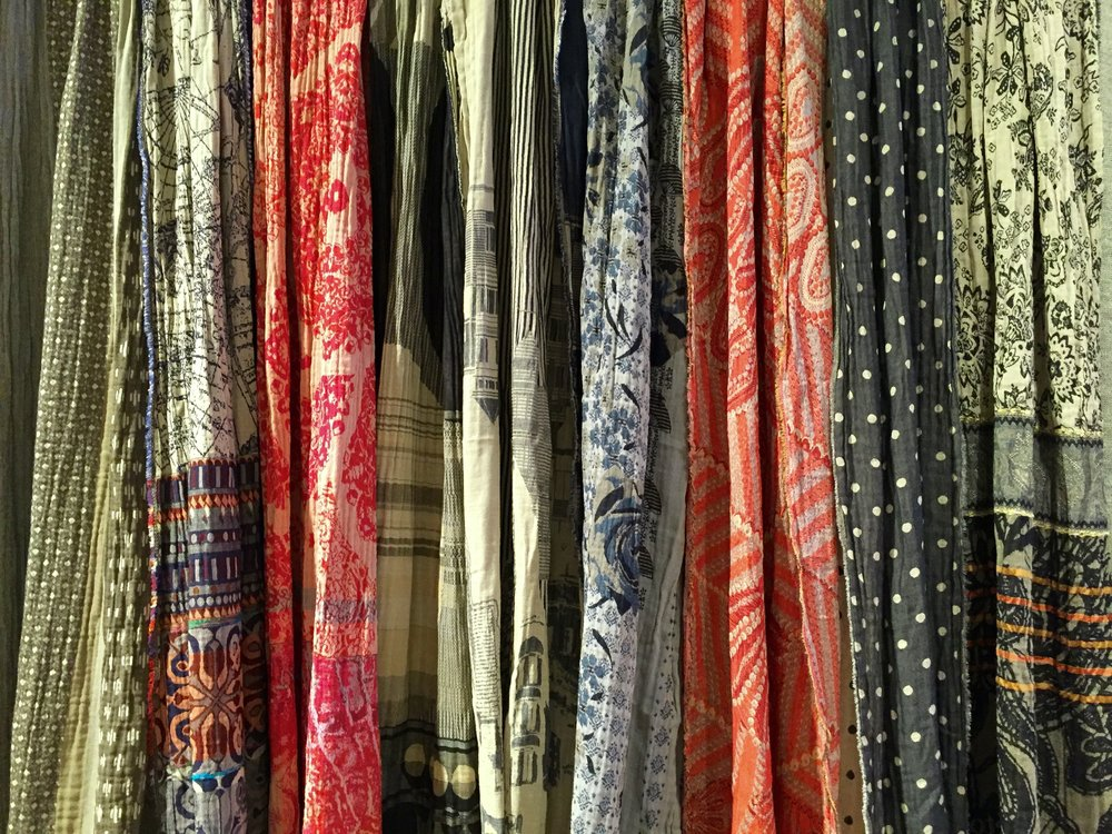 A warm cascade of scarves from Indio Durham.