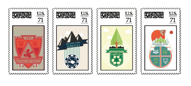 A sample of Dominique's work; a series of stamps she designed to celebrate the National Park Service's 100 Year Anniversary.