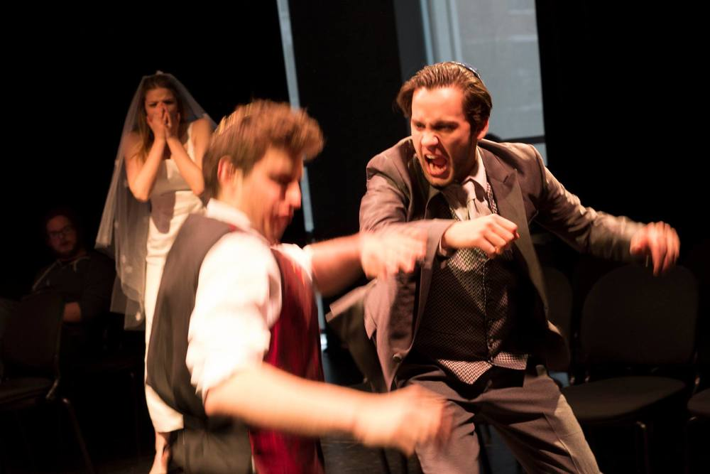Zoe Leigh Tyson as Rachel, Brian Healy as Ari, and Wesley David Toledo as Joe in Undo at The Theatre School at DePaul University. Photo by Siri Collins.