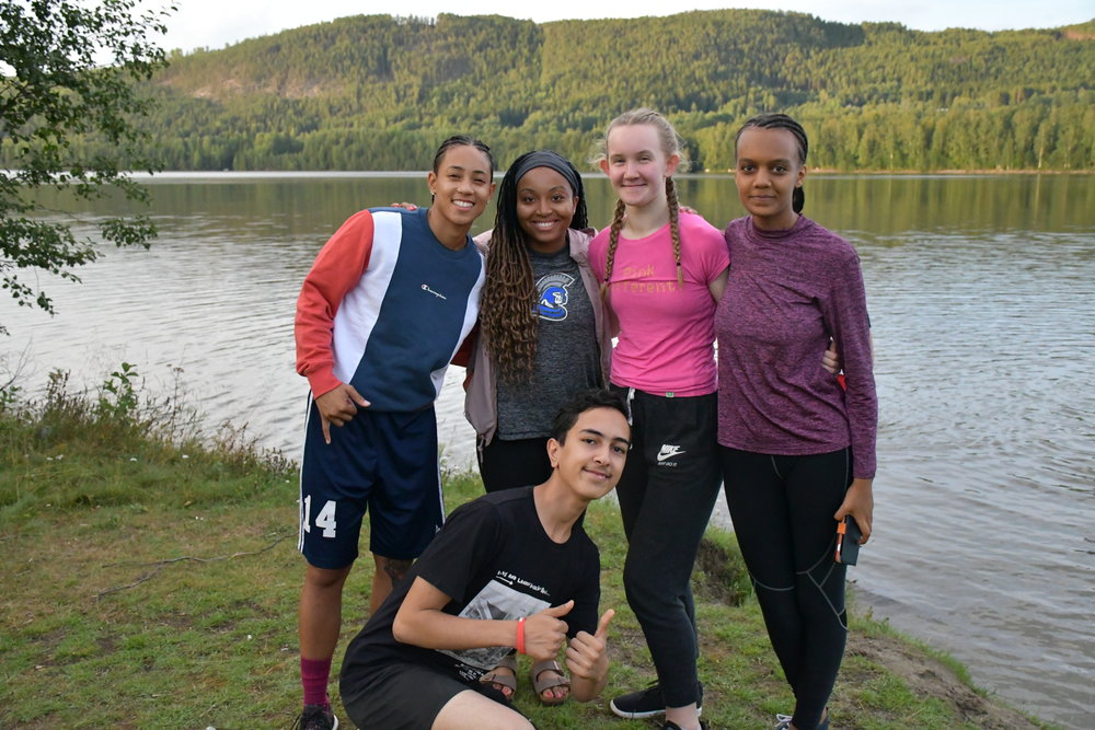NRB players and our campers spending time together at a local lake in Sweden after camp.