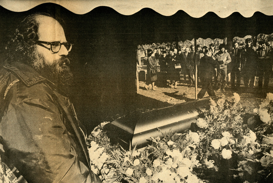 Allen Ginsberg at Jack Kerouac's funeral    Photo by Jeff Albertson,  Cambridge Phoenix  (1969)