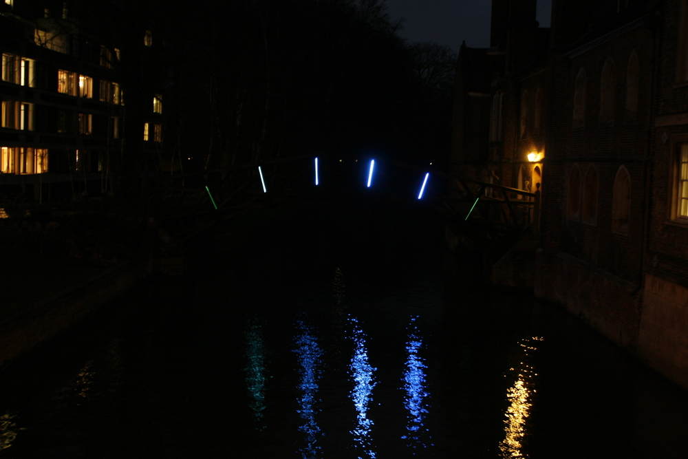 Interactive lights on mathematical bridge