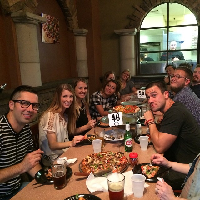 The worship team enjoying a meal together after church.