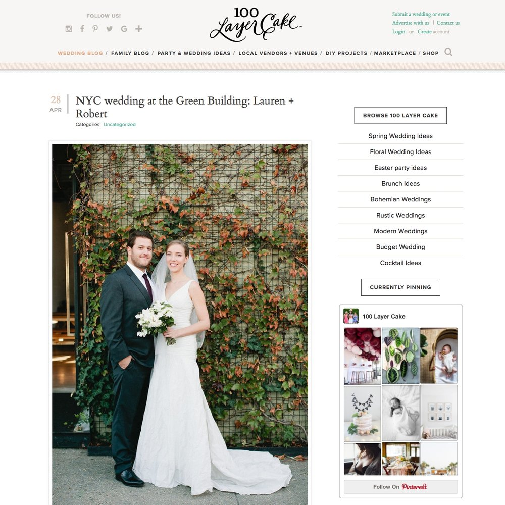 Top NYC Wedding Planner Jove Meyer featured in 100 layer cake for green building wedding!
