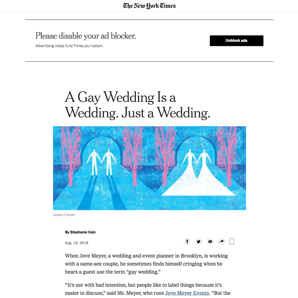 lgbt weddinga dvocate jove meyer featured in the new york times