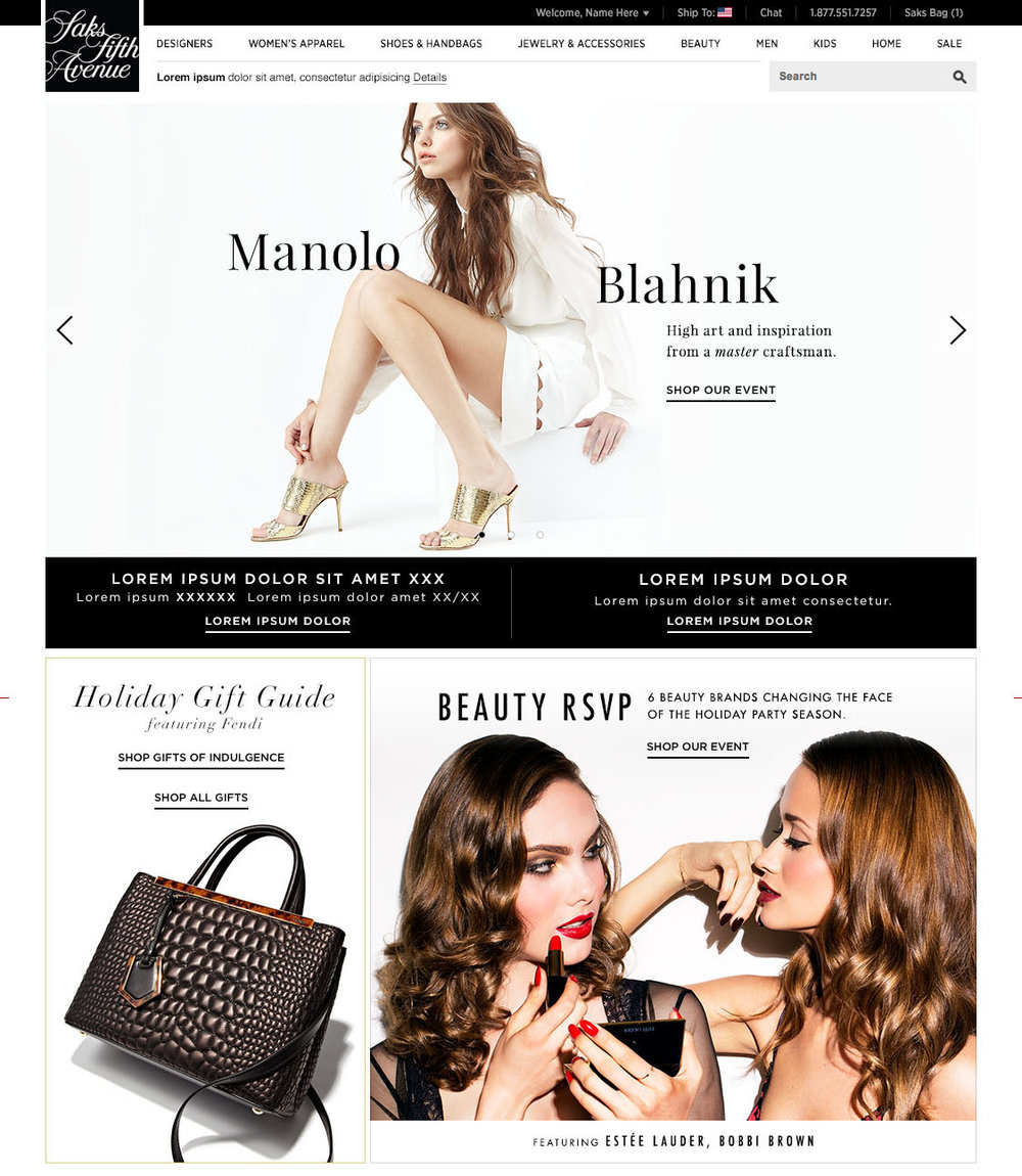 Saks Fifth Avenue  saks.com   |  Editorial Web Layout  |  App Layout   |   Social Media Layout