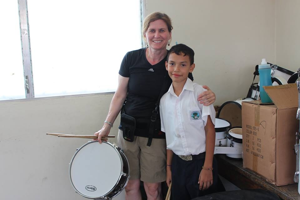 Lesley asked if anyone knew how to play the drums. No one did. So she gave them a little lesson!
