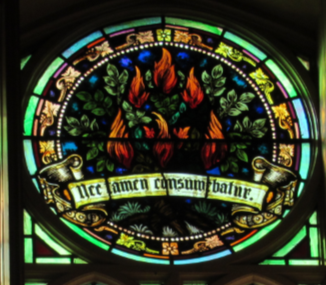 Part of the Chancel window - The Burning Bush