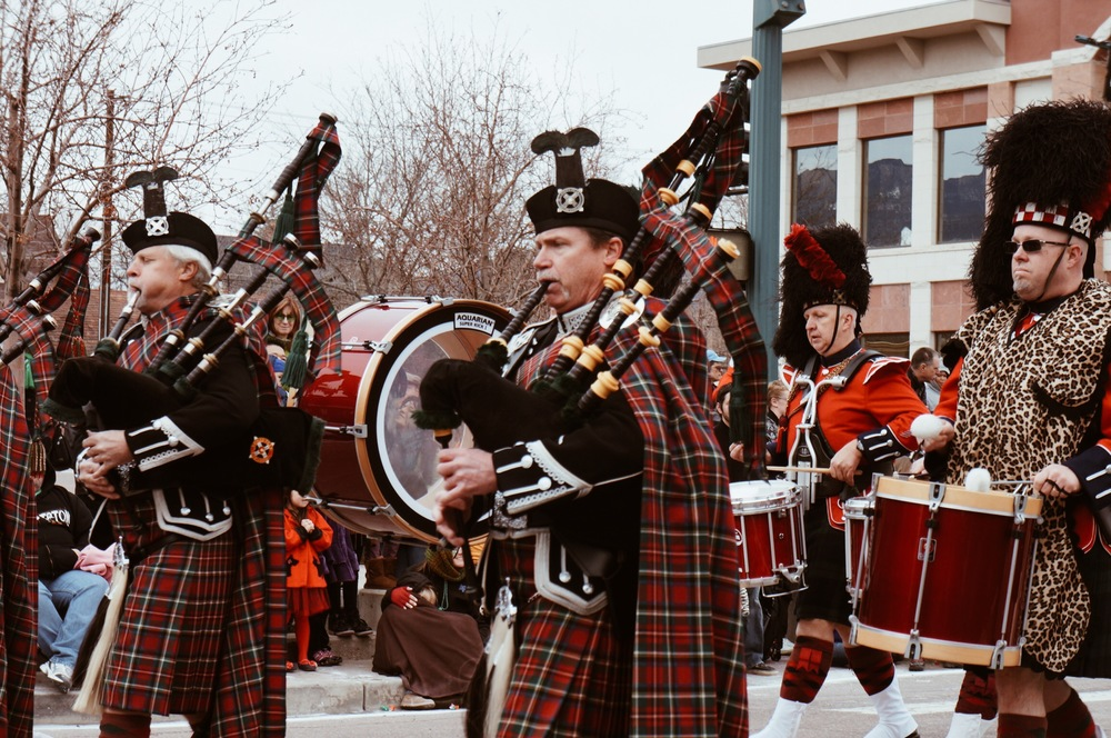 Pipes and Drums at the 2014 Colorado Springs St. Patrick's Day parade.