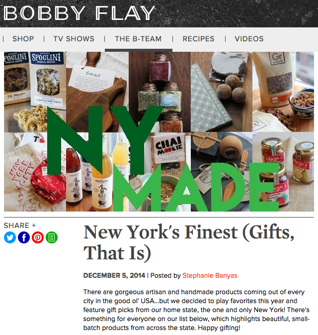 New York's Finest Gifts on the Bobby Flay website highlighting artisans and local products from New York - Maya's Jams!