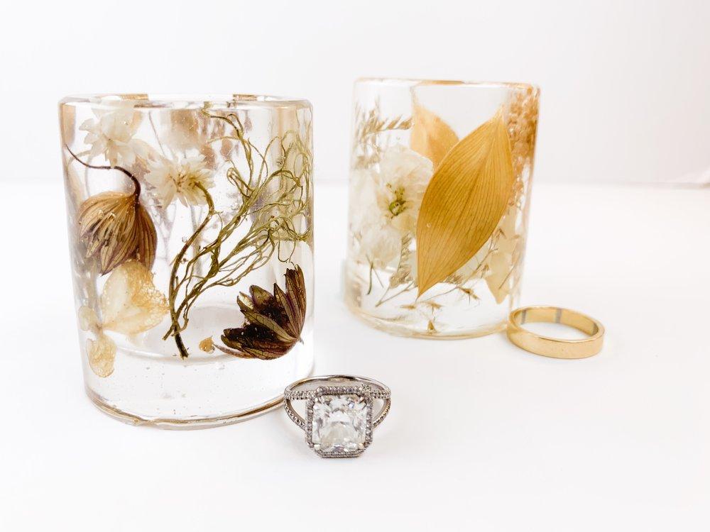 modern bouquet preservation ring holder