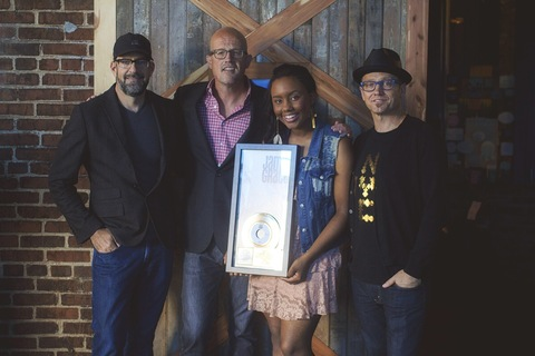 From L to R: Producer Christopher Stevens, Gotee Records President Joey Elwood, Jamie Grace, TobyMac
