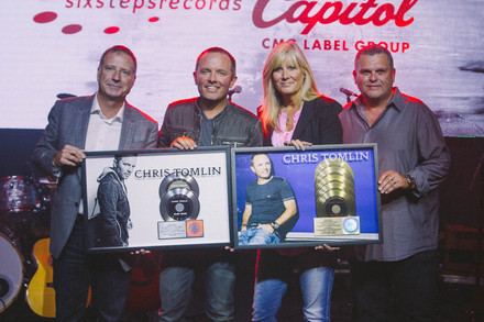 L to R:  Bill Hearn, Capitol Christian Music Group President & CEO; Chris Tomlin; Shelley Giglio, Chief Strategist,   sixstepsrecords  ;  Peter York, President, Capitol Christian Music Group