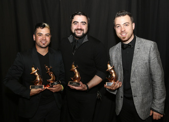 Official image provided by Terry Wyatt of Getty Images for the 46th Annual GMA Dove Awards. From left to right: Jerricho Scroggins, Michael x o Connor   and Seth Mosley of Full Circle Music.