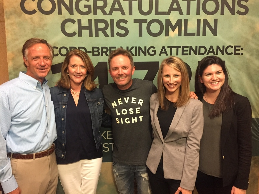 Photo left to right: Governor Bill Haslam, First Lady Crissy Haslam, Chris Tomlin, Kristin Allender (State Director for Tennessee Kids Belong), Laura Doherty (Director of Communications for America's Kids Belong)
