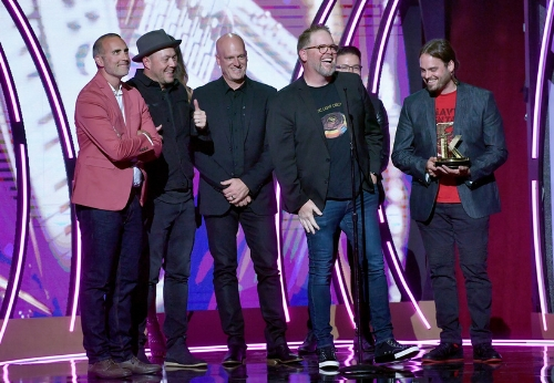 MercyMe, winners of Film Impact, Song Of The Year, Group of the Year and Artist Of The Year. Credit: Getty Images for K-LOVE