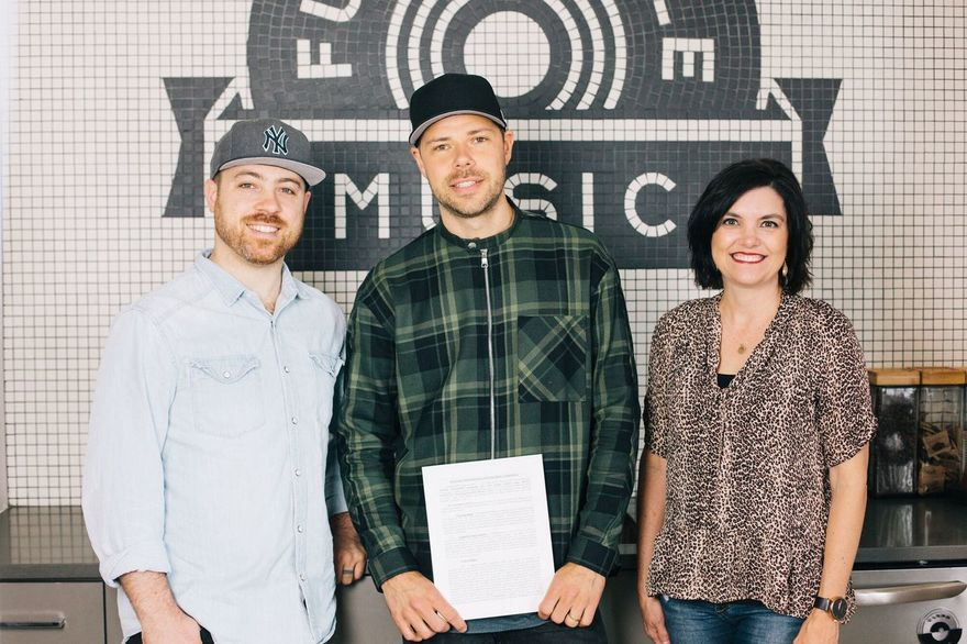 From L to R: Seth Mosley (President of Full Circle Music), Tommy Iceland, Stacey Willbur (VP of Publishing and A&R; at Full Circle Music)