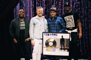 "TobyMac with DJ Maj, Dave ""D-Dub"" Wyatt and Brian ""B."" Haley of the DiverseCity Band. Credit: Trent Nicholson"