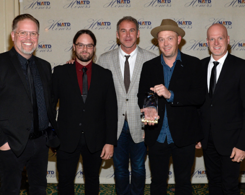 MercyMe (not pictured: Robby Shaffer) with longtime agent Mike Snider.  (Photo by Rick Diamond/Getty Images for NATD)