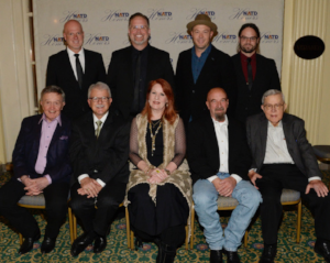 Top Row: Honorees MercyMe band members Barry Graul, Bart Millard, Michael John Scheuchzer and Nathan Cochran.  Bottom Row: Honorees Bill Anderson, Ray Shelide, Kathleen O'Brien, Stan Barnett, and George Moffett  (Photo by Rick Diamond/Getty Images for NATD)