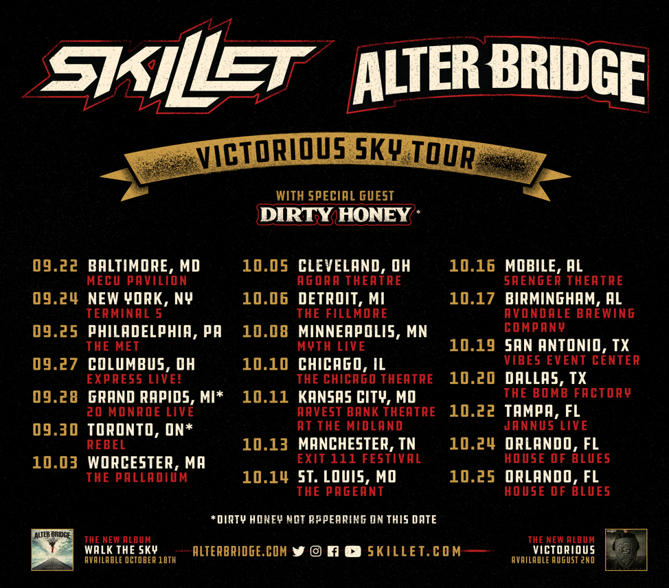 SKILLET + ALTER BRIDGE ANNOUNCE CO-HEADLINE VICTORIOUS SKY TOUR
