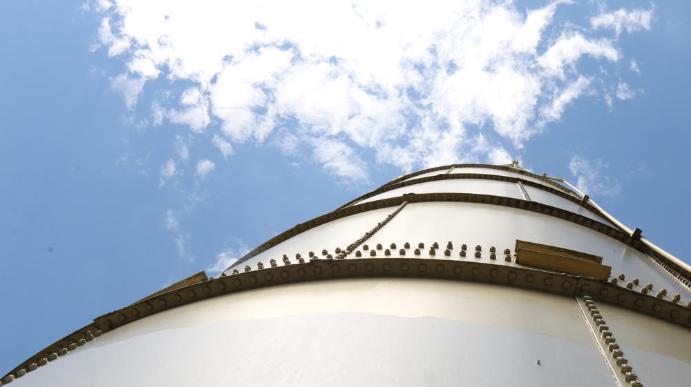 An unpainted [silo]
