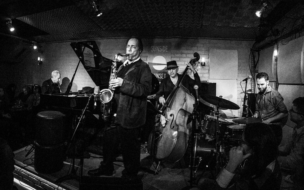 with Ben Sidran, Ricky Ford and Peter Giron on stage at the Sunside, Paris