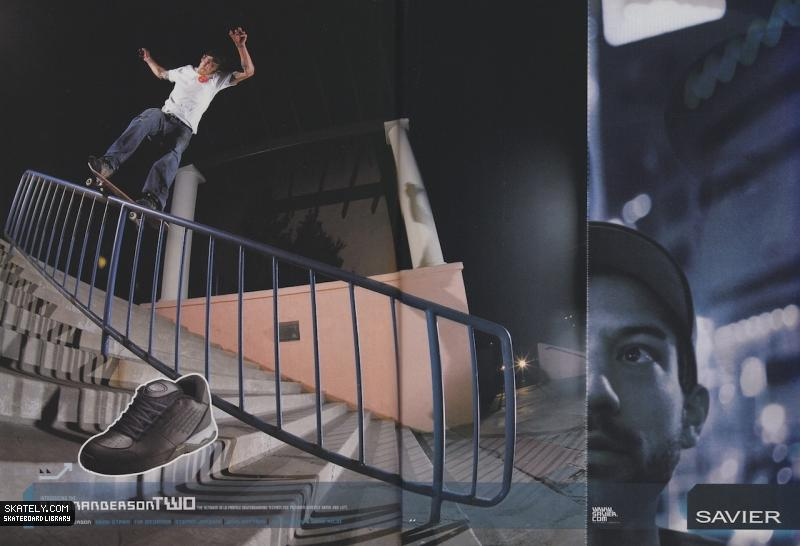 If you take only one thing away from this article, make it this: Brian Anderson filmed his magnum opus of a part in Yeah Right  skating in almost exclusively Savier shoes. The trick above is seen in that part. Savier ad, 2003.