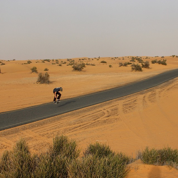 A kickflip in the middle of nowhere, Dubai, 2015. Photo: Jordan Maxham