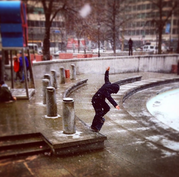 If you're shoveling once a week, a light snow can't stop you from skating. Brian Panebianco - Switch Crook. Photo:  Tracy Gorman