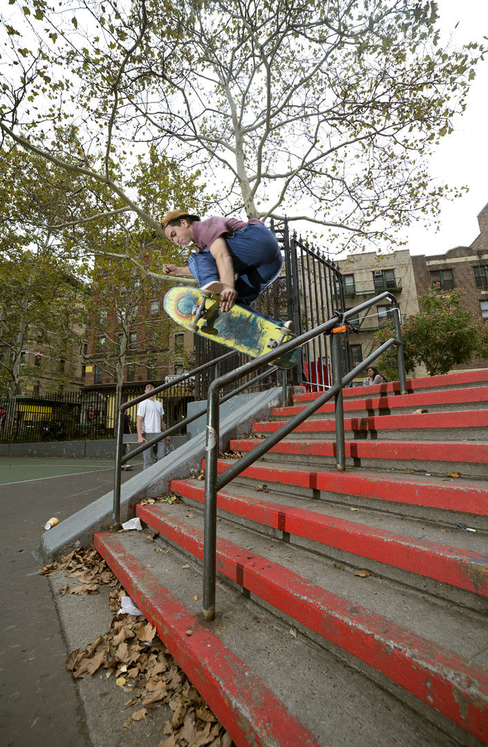 An early grab 5-0 past the bike lock skate stopper seen in 2015's   Trust  . Photo:  Colin Sussingham