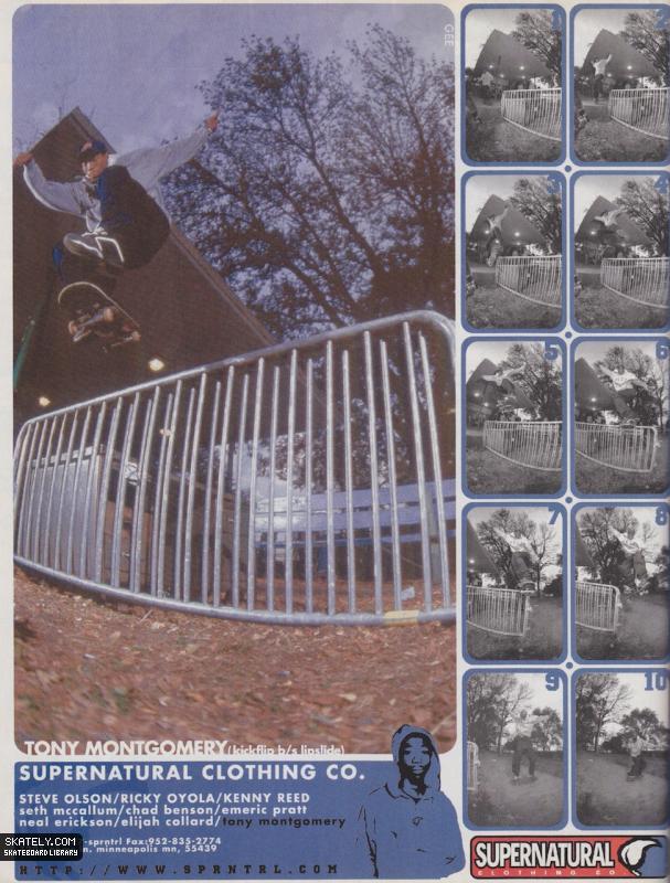 One of the brand's magazine ads. Tony Montgomery, kickflip backside lipslide.