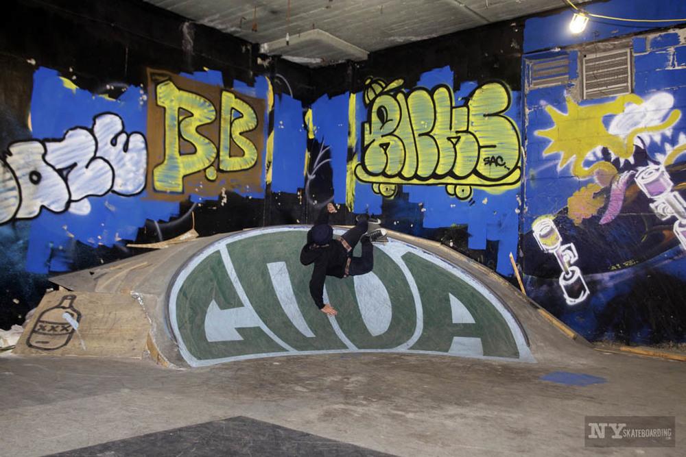 Concrete was built, bert slides were done. Photo:  NY Skateboarding