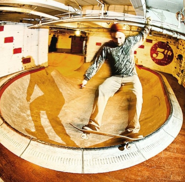 Jesse Clayton enjoys a frontside 5-0 on the ramp he got built. Probably feels pretty rad. Photo via @robertjreed