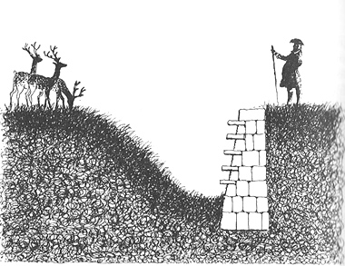 Illustration of a 'ha-ha', a wall that appears shorter than it actually is until seen up-close.