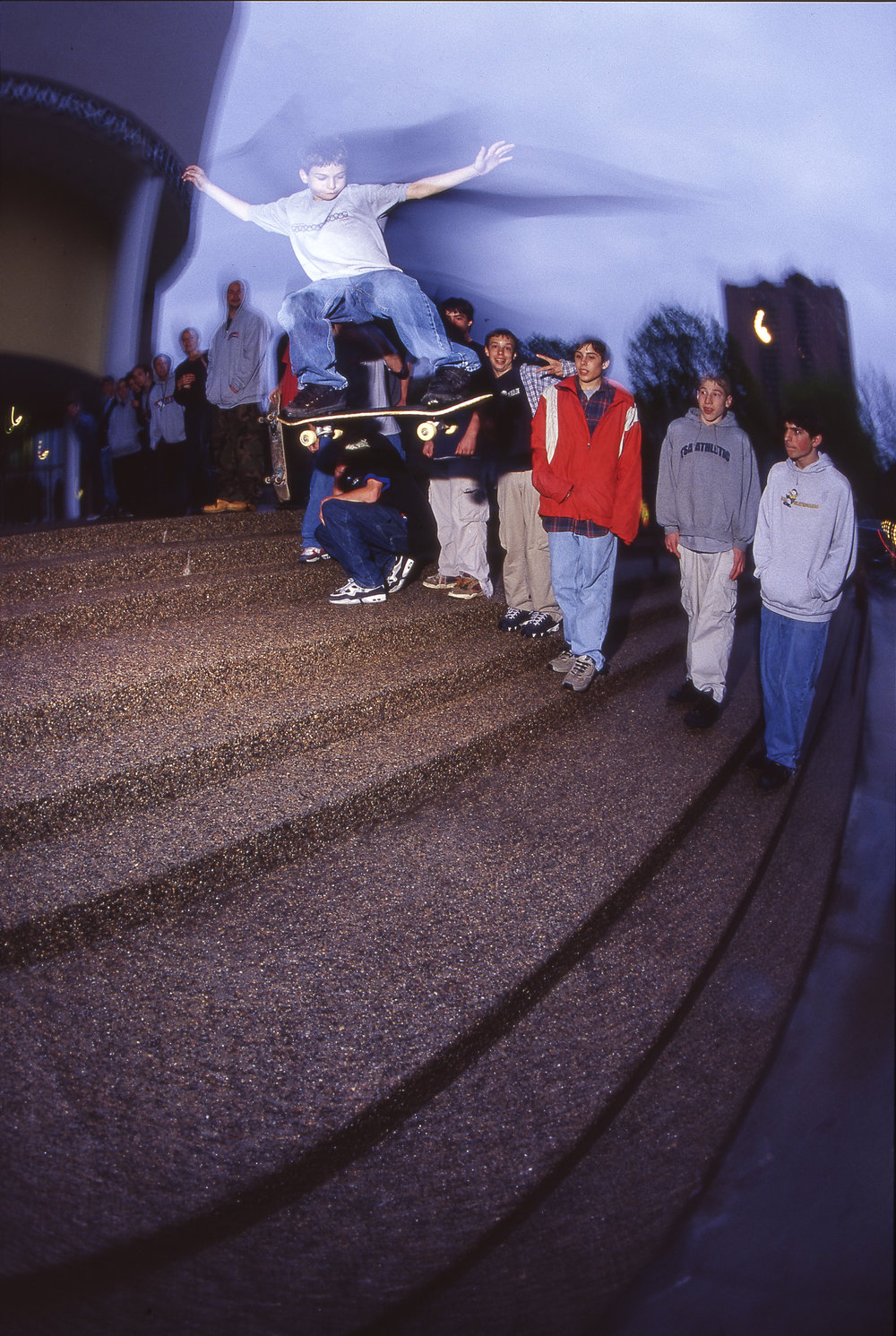 Dane Vaughn ollies the triple set at the now-relocated Science Museum of Minnesota. This was at the  Real to Reel  premiere, and he received a voucher for a free pair of DVS shoes for this ollie. We were so hyped on the voucher.