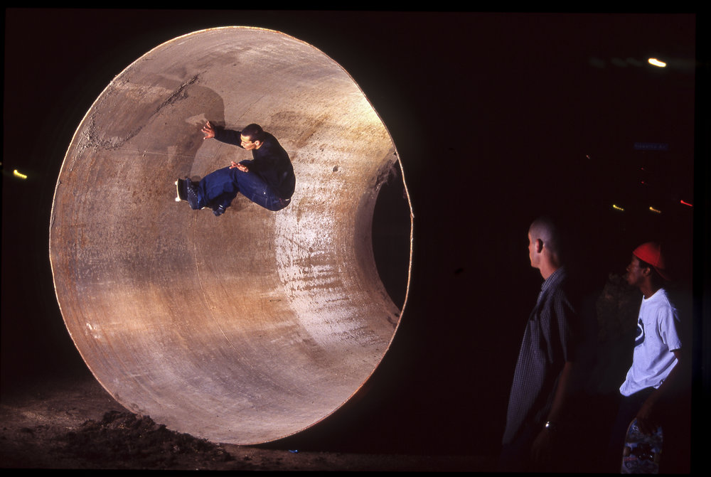 Steve Nesser riding a full pipe at night.