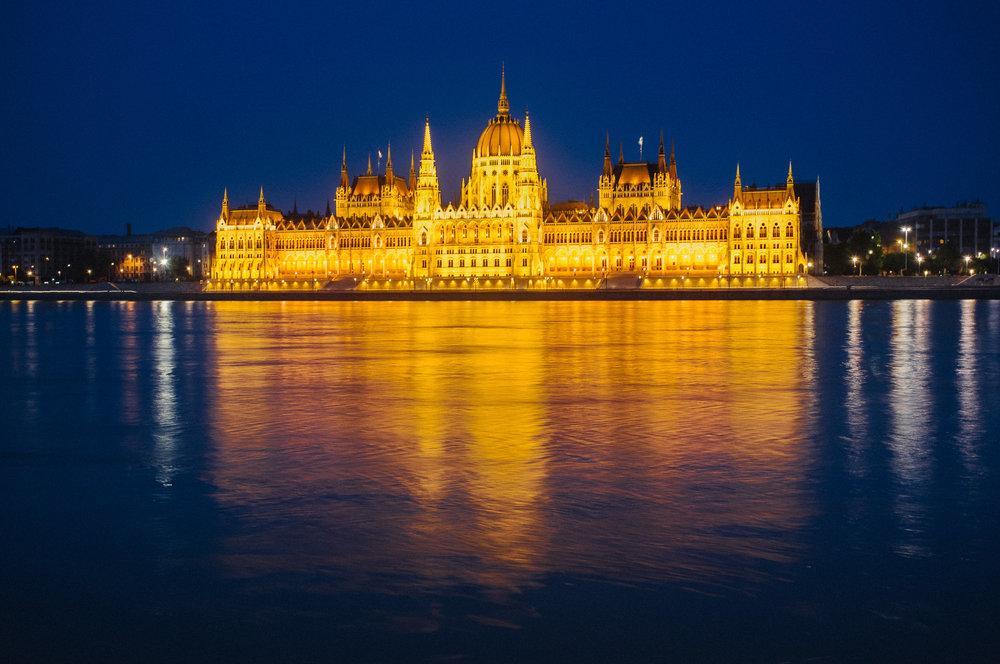 Budapest Parliament building at dusk
