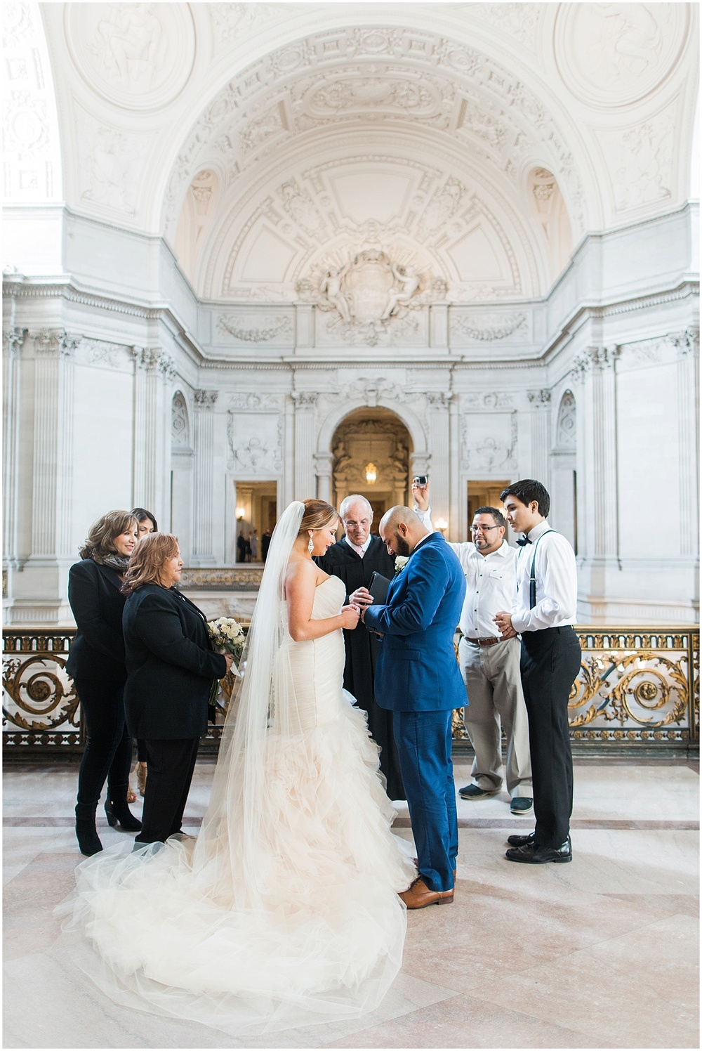Blueberryphotography.com | San Francisco City Hall Elopement | SF City Hall Wedding | Mayors Balcony