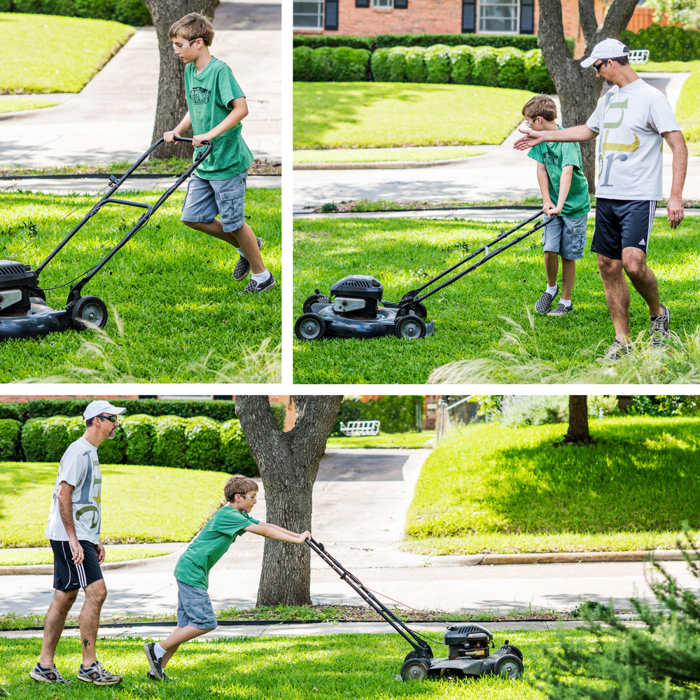 father_son_lawn_mowing_texas_spring_family